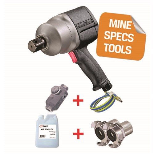 "Ingersoll Rand 2925RBP1Ti-EX-HC: 3/4"" Air Impact Wrench, 1600ft-lb, ATEX Certified Zone 1 & 2 with claw coupling whiphose, lubricator, oil"